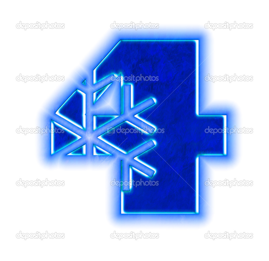 Winter Snowflake Font Number Four Stock Photo Silverkblack