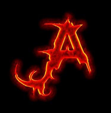 Gothic fire font - letter A