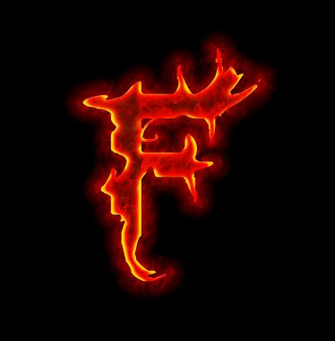 Gothic fire font - letter F