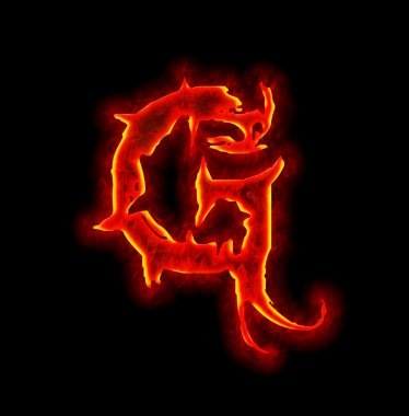 Gothic fire font - letter G