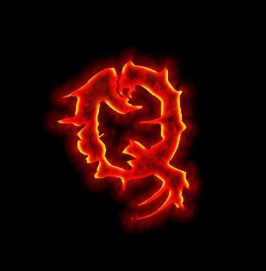Gothic fire font - letter Q