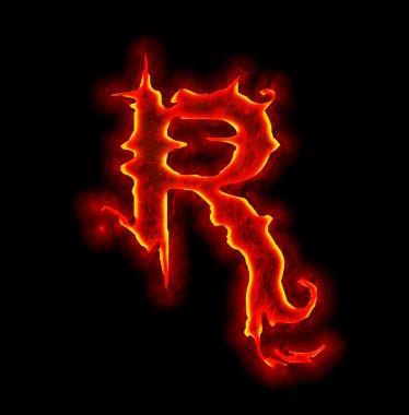 Gothic fire font - letter R