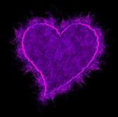 lila tűz szívvel elszigetelt fekete