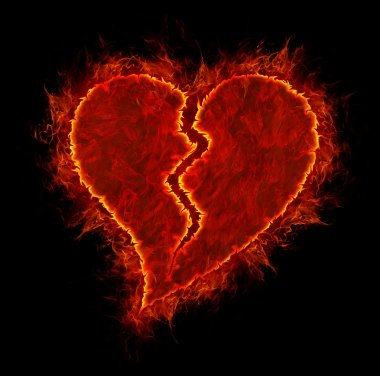 Broken fire heart symbol made of fire