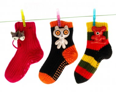Cute Socks Hanging on a Clothes Line