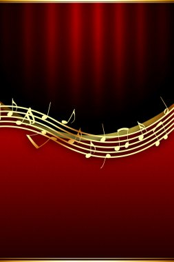 Golden Music Notes on Theatrical Backgro