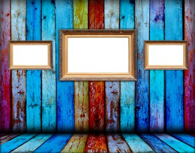 Three Blank Frames in Wooden Room