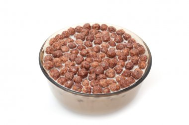 Bowl with Chocolate Balls and Milk
