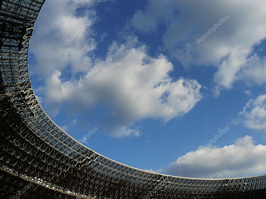 Roof of arena against the blue sky