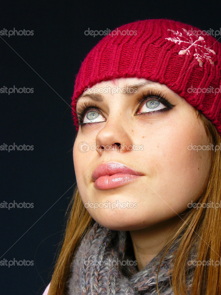 Very Beautiful Blond Teen Girl With: Very Beautiful Girl In A Red Cap