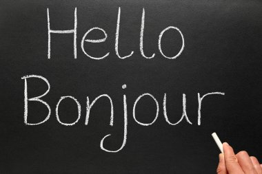 Bonjour, hello in French on a blackboard