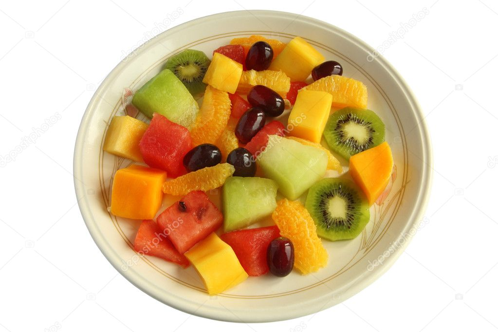 Healthy mixed fruit salad plate isolated