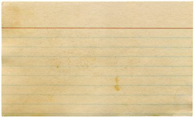 Dirty old blank index card isolated.