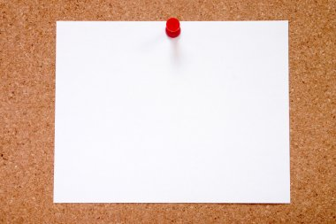 Blank paper stuck to a notice board.