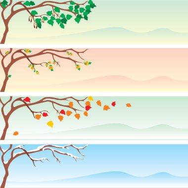 Set of four vector seasonal banner. stock vector