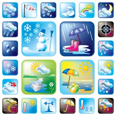 Set of vector icons on the weather and seasons theme. 24 symbol for web and print stock vector