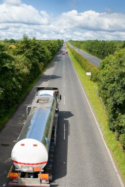 Truck with fuel tank on the highway
