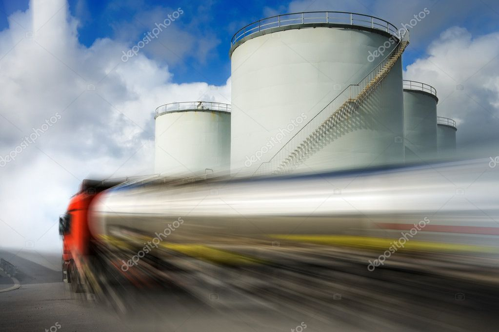 Truck with fuel tank in motion