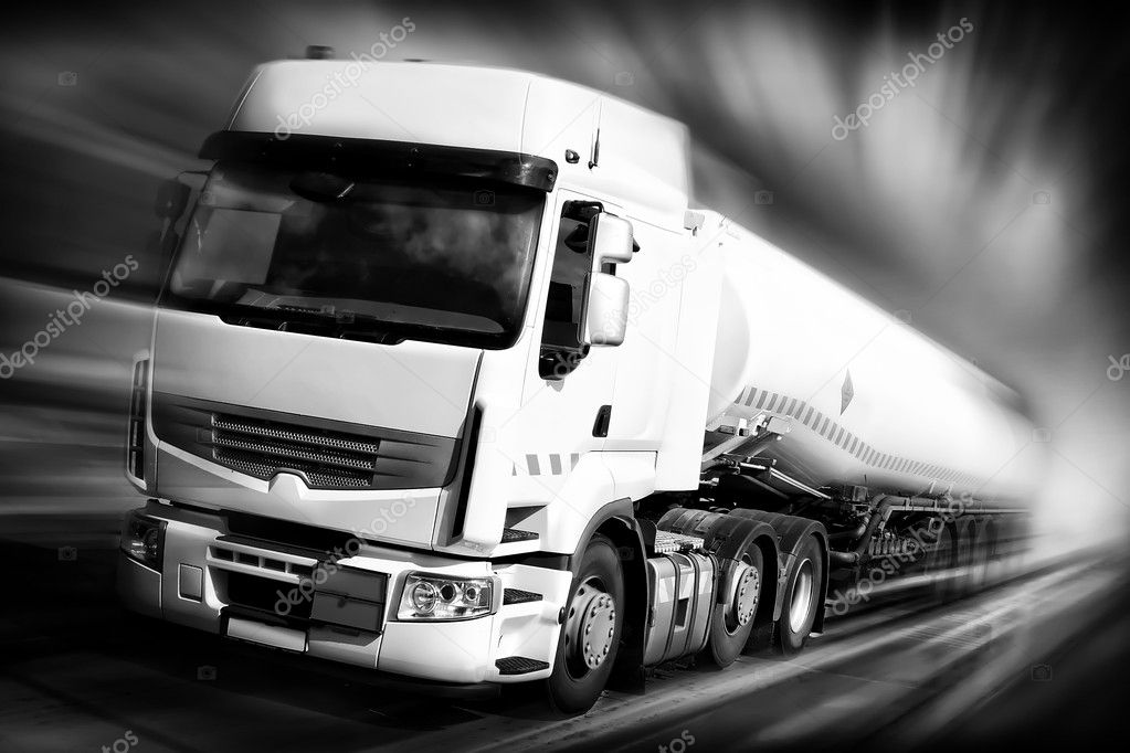 Truck with fuel tank black and white