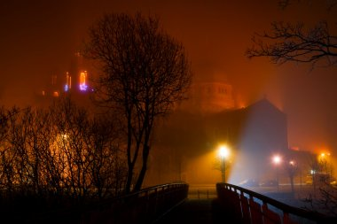 Galway Cathedral vanishing in night fog
