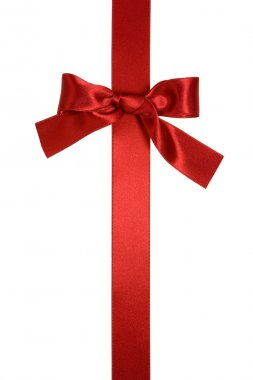 Red vertical ribbon with bow isolated