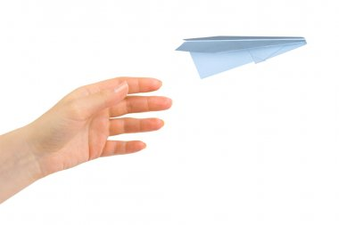 Hand and flying money plane