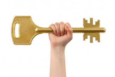Hand and big key