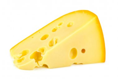 Slice of cheese isolated on white background stock vector