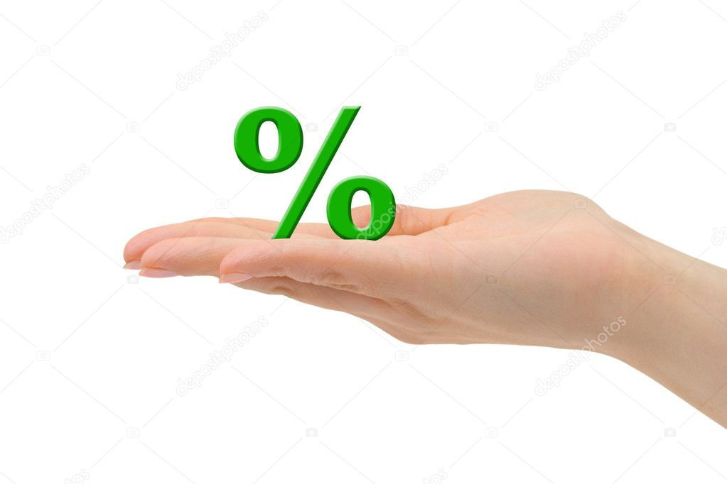 Hand and percentage symbol