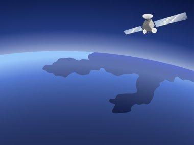 Satellite over planet