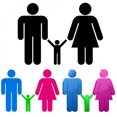 Male and female gender signs with child