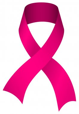 Pink breast cancer awareness ribbon isolated on white background. stock vector