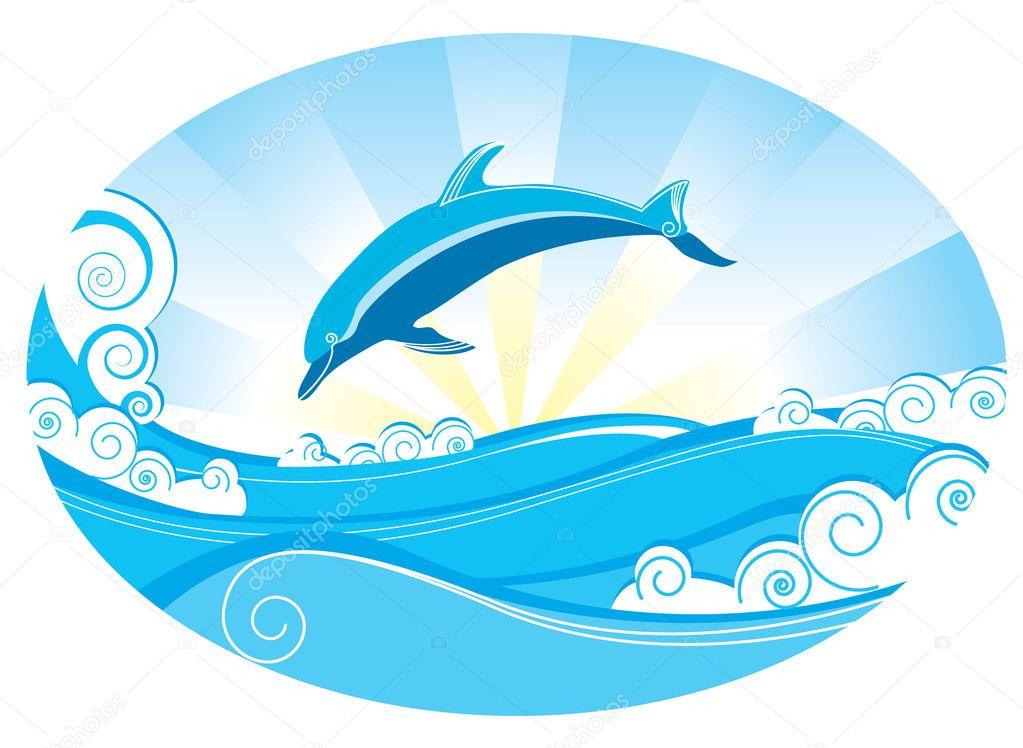 Delfini e mare vettoriali stock geraktv 1156131 for Scarica clipart