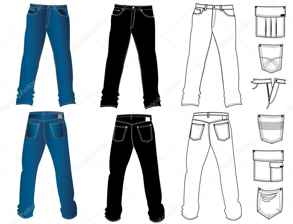 Pantalones Vaqueros Para Hombre Stockvector Geraktv 1179919