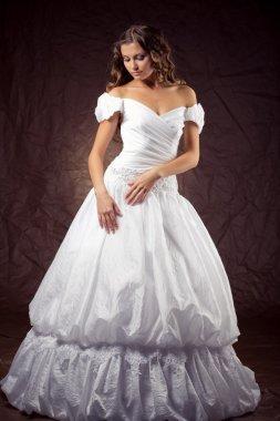 Fashion model wearing wedding dress