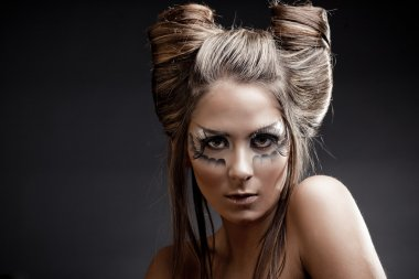 Fashion model with halloween makeup and