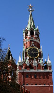 Spasskaya Tower Top at the Red Square
