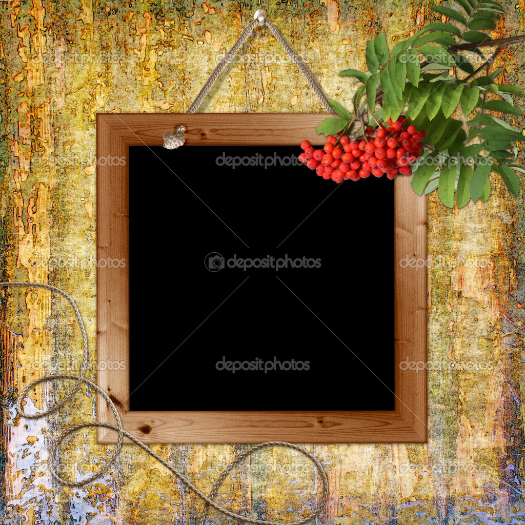 Wood grungy background with frame