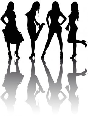 Silhouettes of four beautiful girls