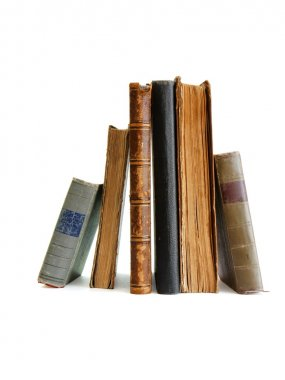 Stack of old books standing isolated stock vector
