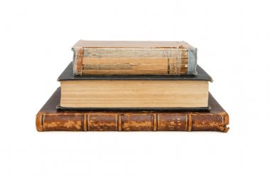 Stack of three old books isolated stock vector