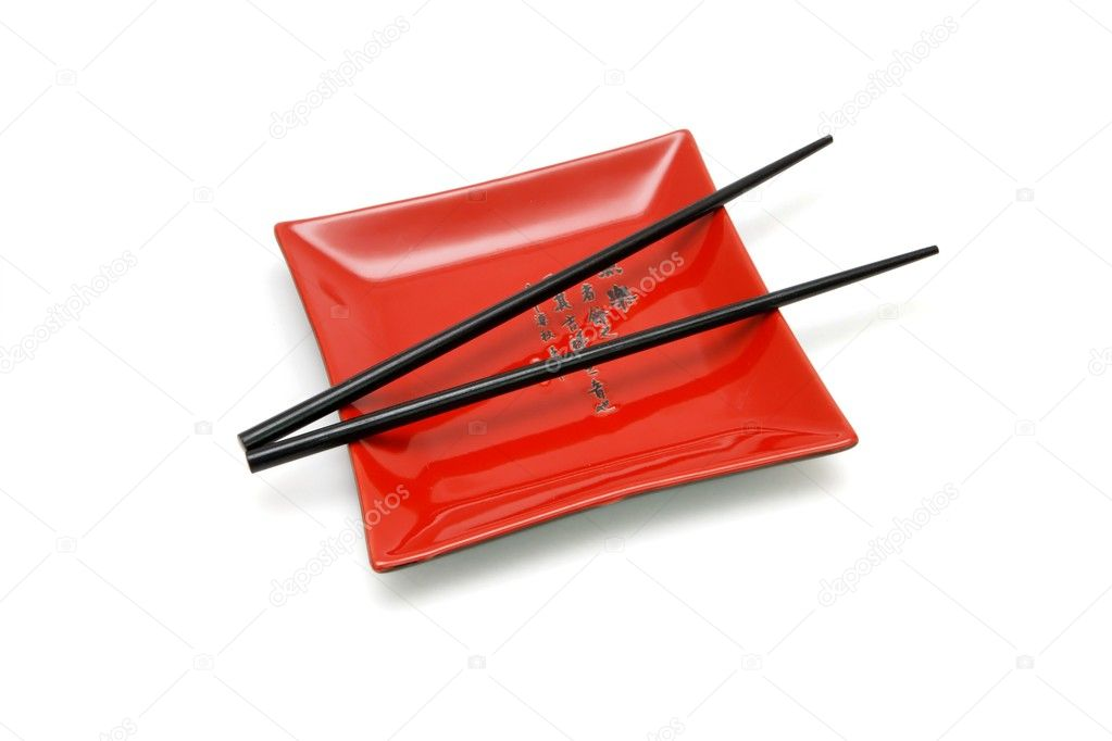Black chopsticks on red square plate \u2014 Stock Photo  sc 1 st  Depositphotos & Black chopsticks on red square plate \u2014 Stock Photo © slavapolo #1171820