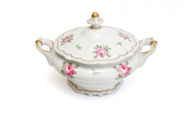 Vintage porcelain tureen isolated