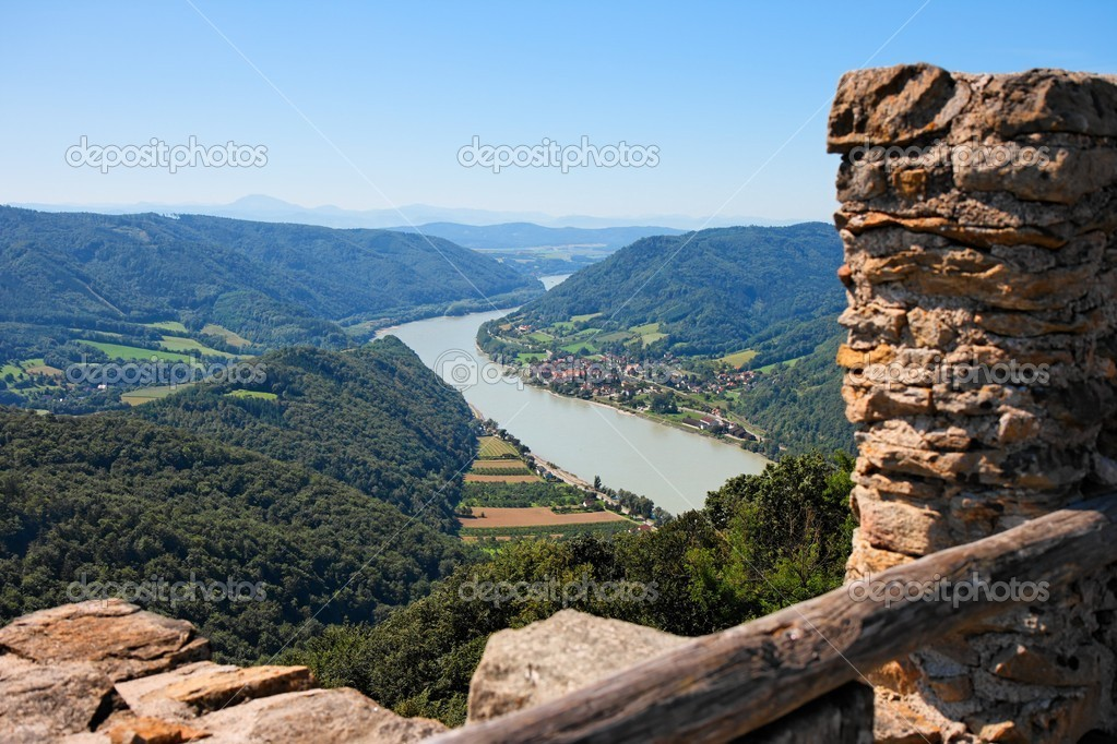 Ruins of medieval castle on Danube