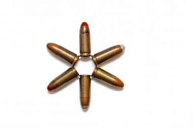 Six-pointed star of 9mm cartridges