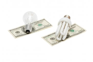 Energy save lamp vs bulb on dollar bills