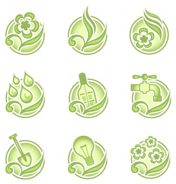 Environmental icons in green