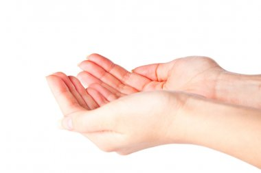 Cupped hands on a white background