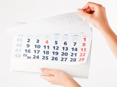 Close up of calendar in hands
