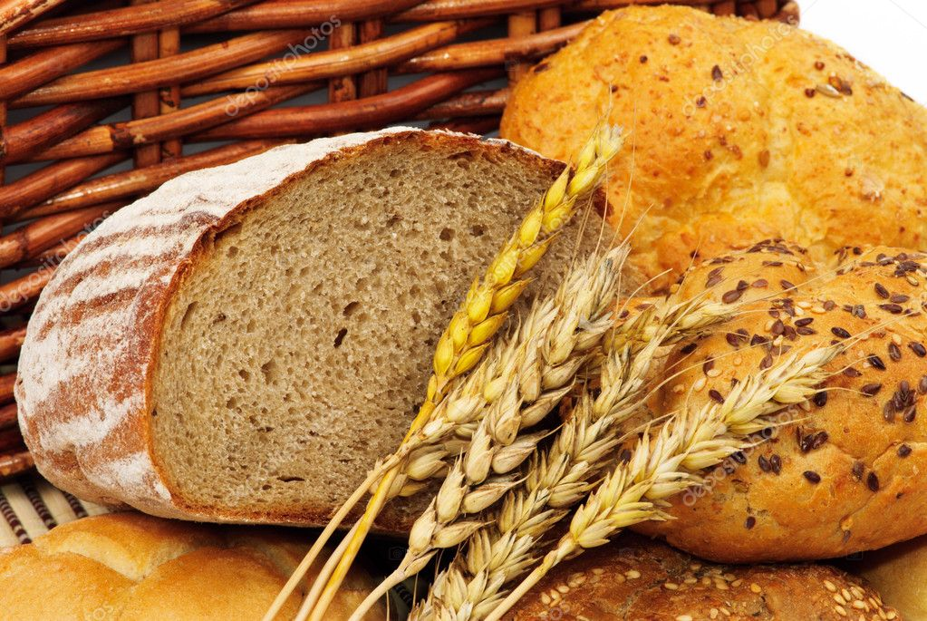 Fresh bread with wheat